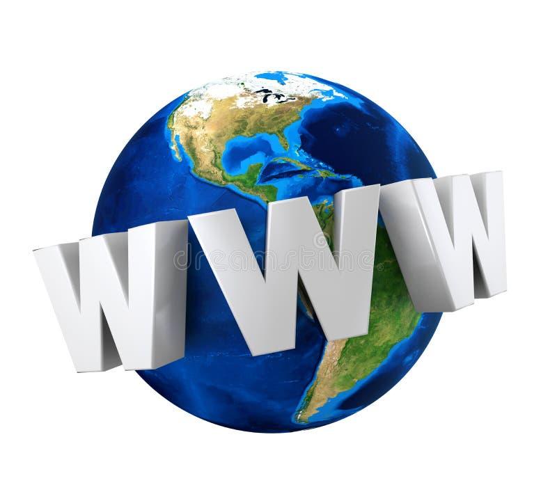 Jordjordklot med text WWW stock illustrationer
