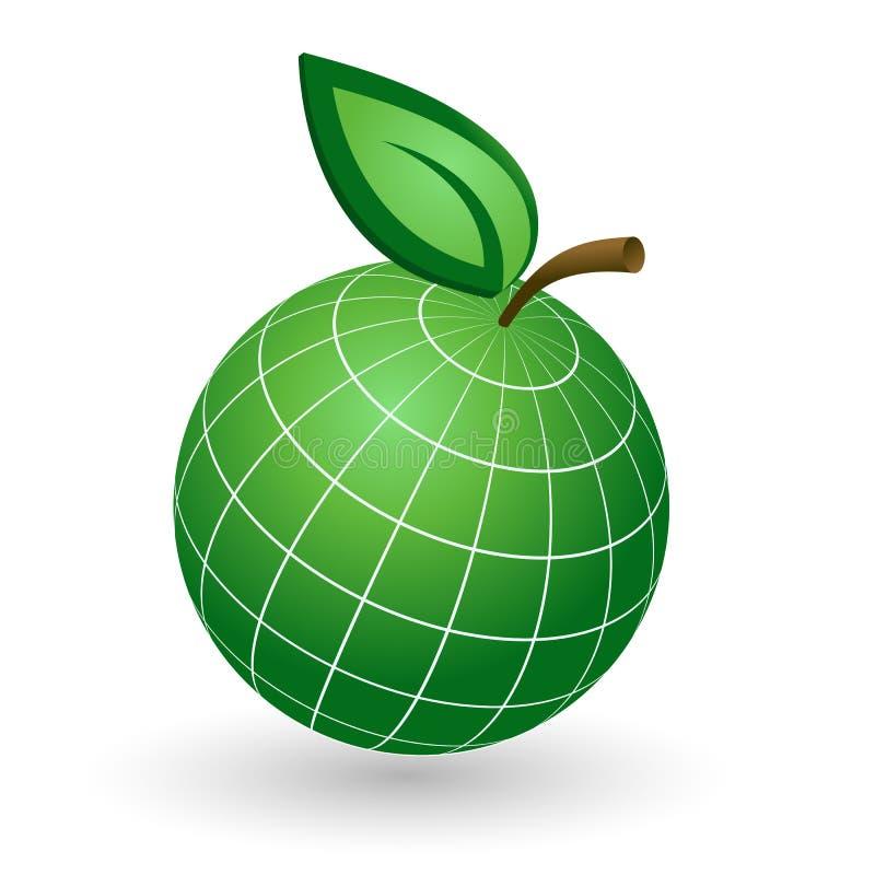 Jordjordklot som det Apple symbolet vektor illustrationer