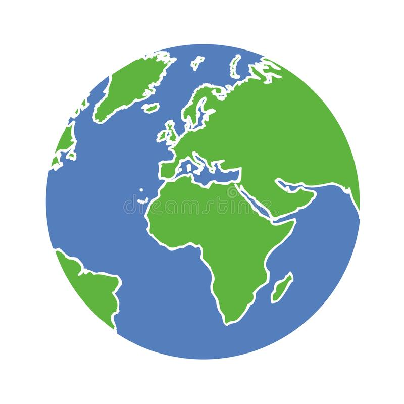 Jordjordklot som isoleras på vit bakgrund vektor illustrationer