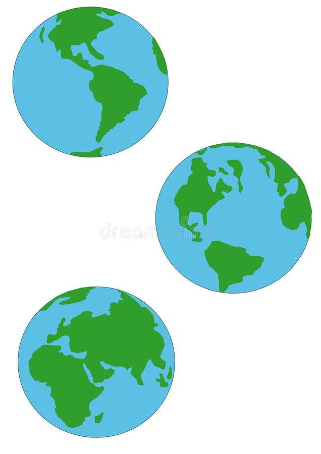 jordjordklot tre royaltyfri illustrationer