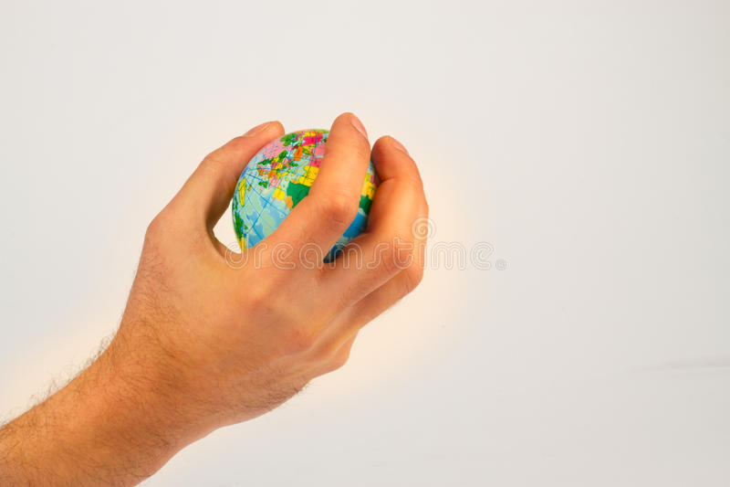 jordjordklotet hands hans royaltyfria bilder