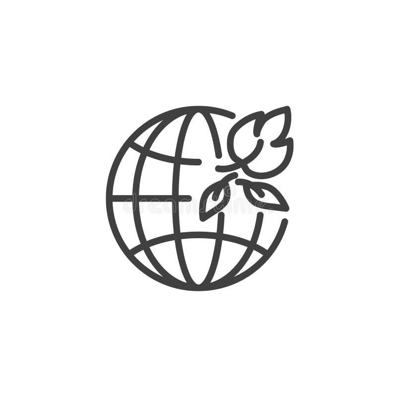 Jordjordklotet med sidor fodrar symbolen royaltyfri illustrationer
