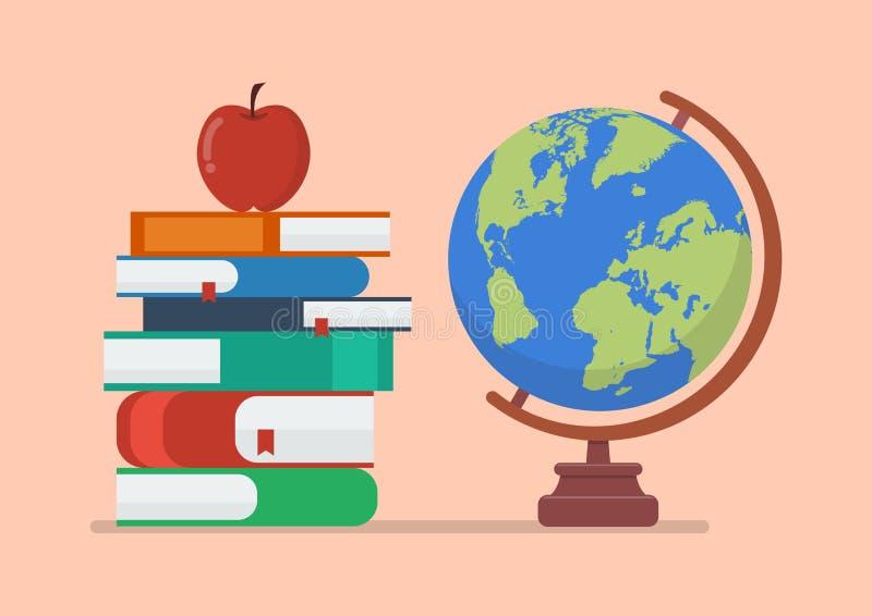 Jordjordklotmodell med böcker och äpplet royaltyfri illustrationer