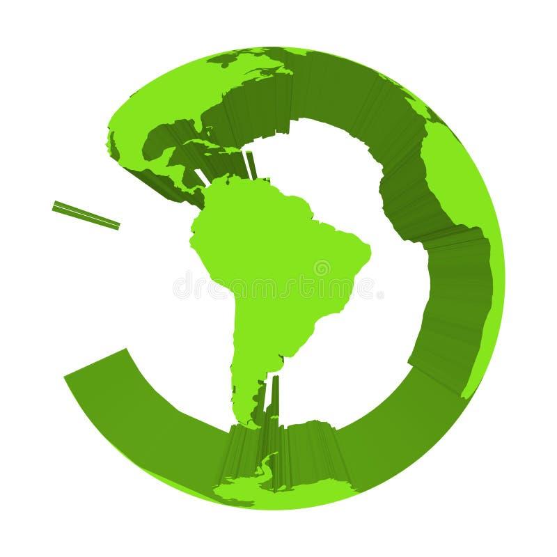 Jordjordklotmodell med gräsplan pressade ut länder Fokuserat på Sydamerika vektor för illustration 3d stock illustrationer