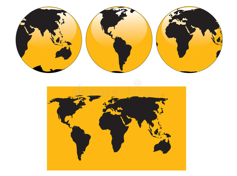 jordklotöversikt vektor illustrationer