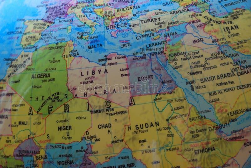 Jordklotöversikt av Nordafrika och Mellanösten arkivbild