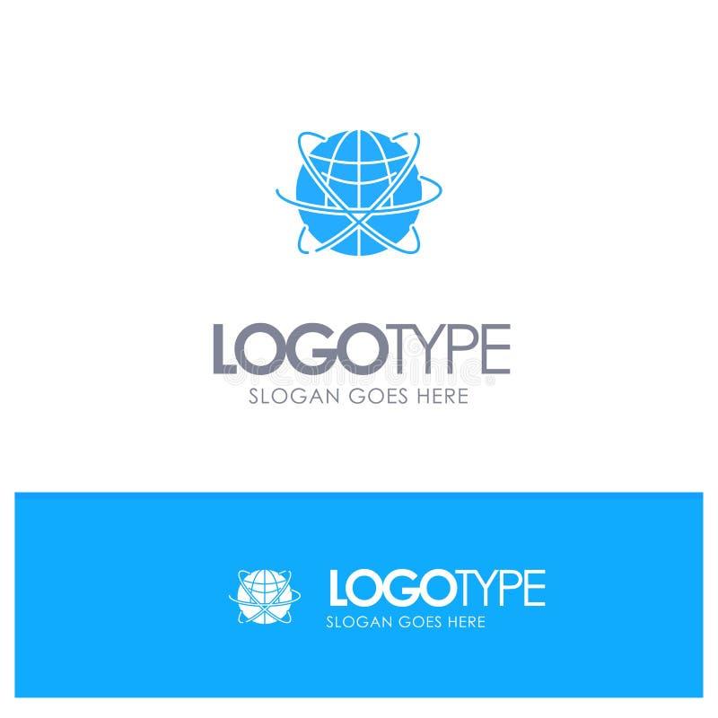 Jordklot affär, data som är globala, internet, resurser, blå fast logo för värld med stället för tagline stock illustrationer