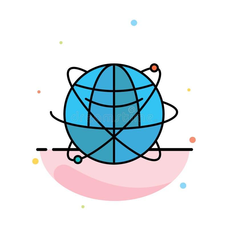 Jordklot affär, data som är globala, internet, resurser, för färgsymbol för värld abstrakt plan mall vektor illustrationer