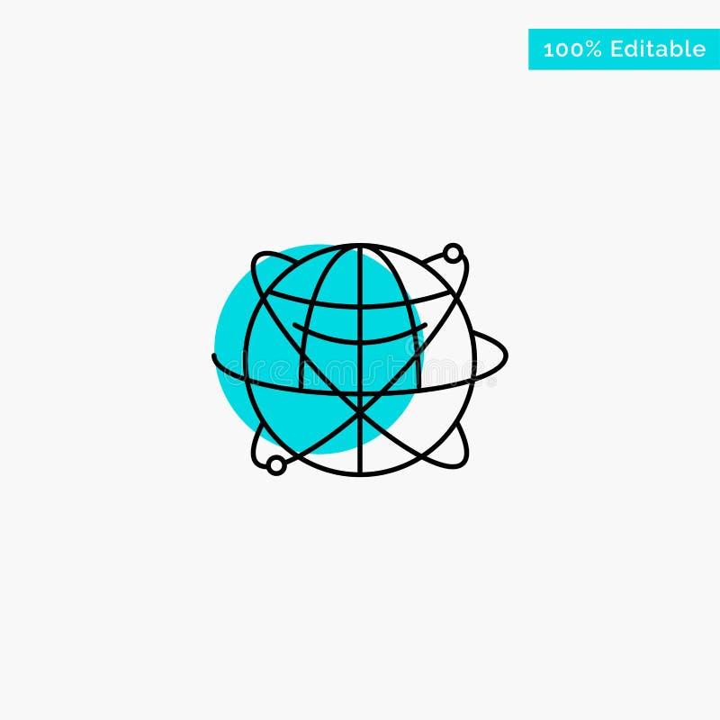 Jordklot affär, data som är globala, internet, resurser, symbol för vektor för punkt för cirkel för världsturkosviktig royaltyfri illustrationer