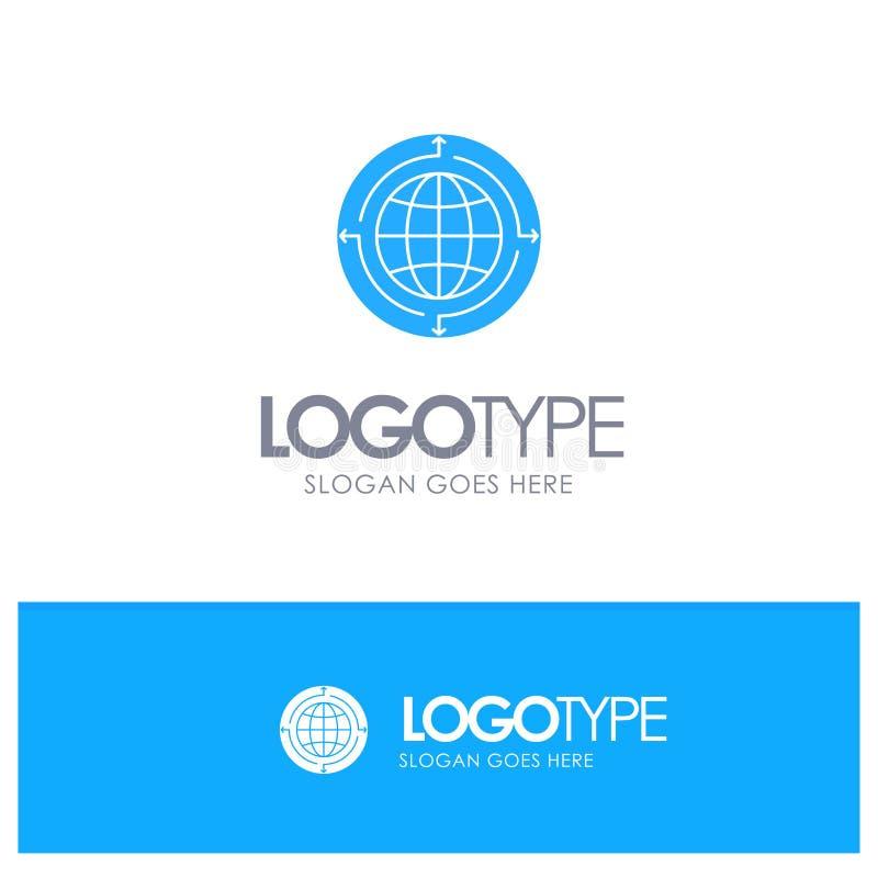 Jordklot affär, kommunikation, anslutning som är global, blå fast logo för värld med stället för tagline stock illustrationer