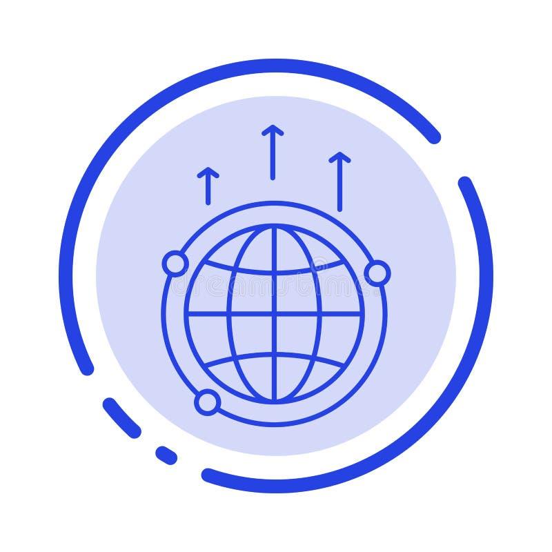Jordklot affär, kommunikation, anslutning som är global, blå prickig linje linje symbol för värld vektor illustrationer