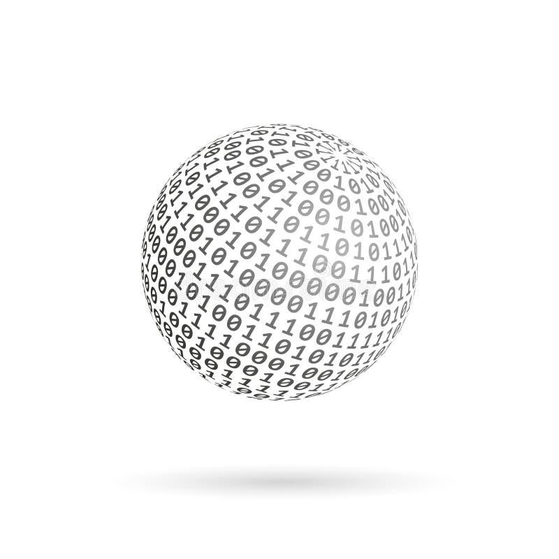 Jordklot av den binära koden Abstrakt teknologiboll för designeps för 10 bakgrund vektor för tech royaltyfri illustrationer