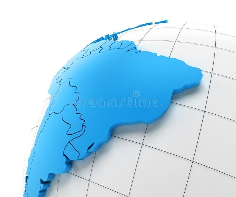Jordklot av Sydamerika med nationella gränser stock illustrationer