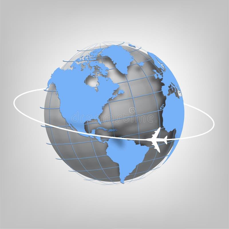 Jordklot av världen och flygplanet. royaltyfri illustrationer