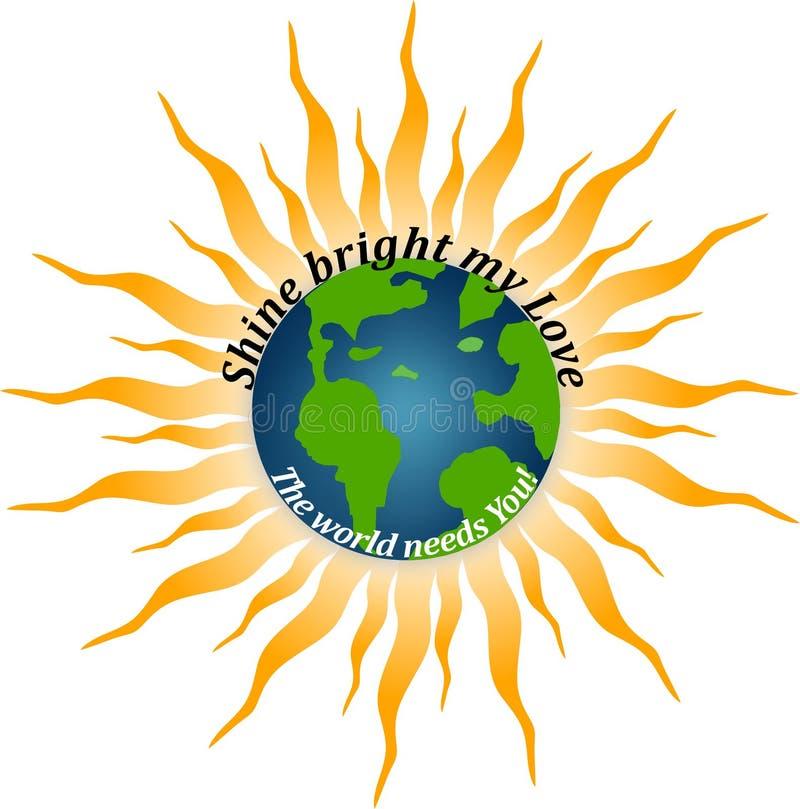 Jordklot av världen och solen royaltyfri illustrationer