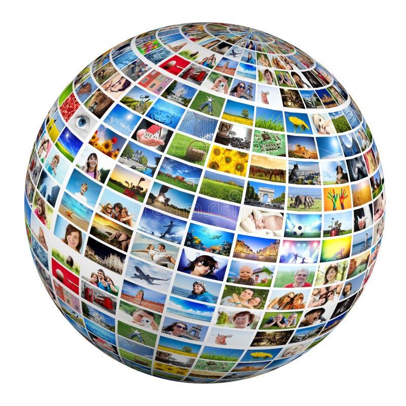 Jordklot boll med olika bilder av folk, natur, objekt, ställen fotografering för bildbyråer