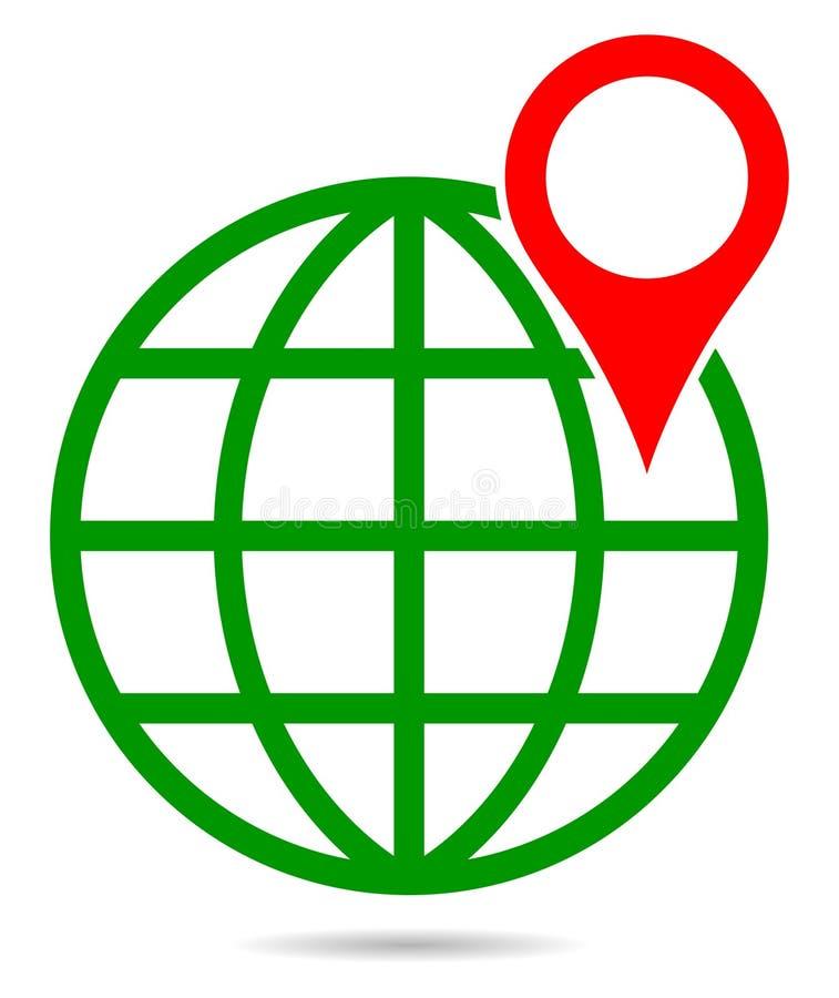 Jordklot för grön färg för vektor med navigering för pekareöversiktsstift royaltyfri illustrationer