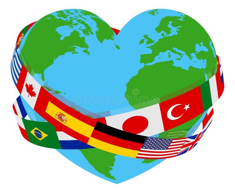 Jordklot för hjärta för välgörenhet för språk för flaggor för världsfred royaltyfri illustrationer