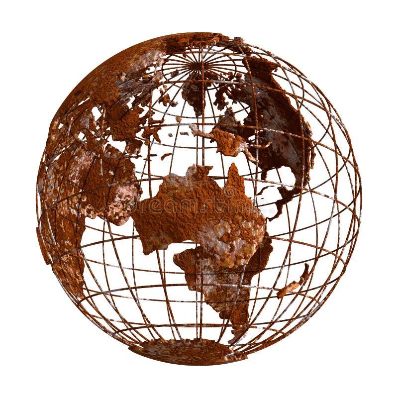 Jordklot för Rusty Earth planet 3D royaltyfri illustrationer