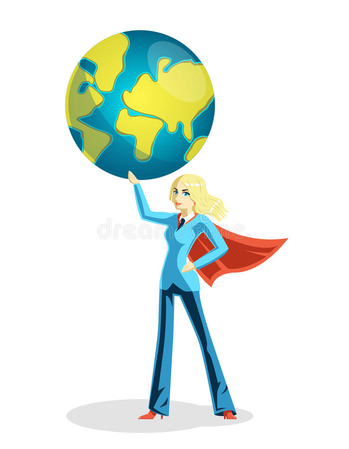 Jordklot för värld för affärskvinna hållande vektor illustrationer