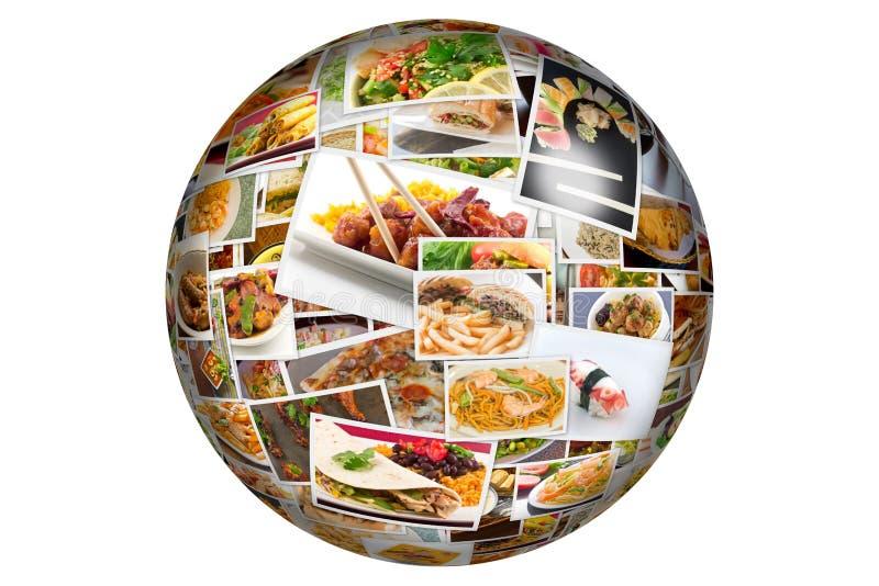 Jordklot för världskokkonstcollage royaltyfri illustrationer