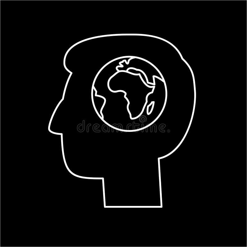 Jordklot i hjärna av ekologi för mänskligt huvud och miljösymbolen vektor illustrationer