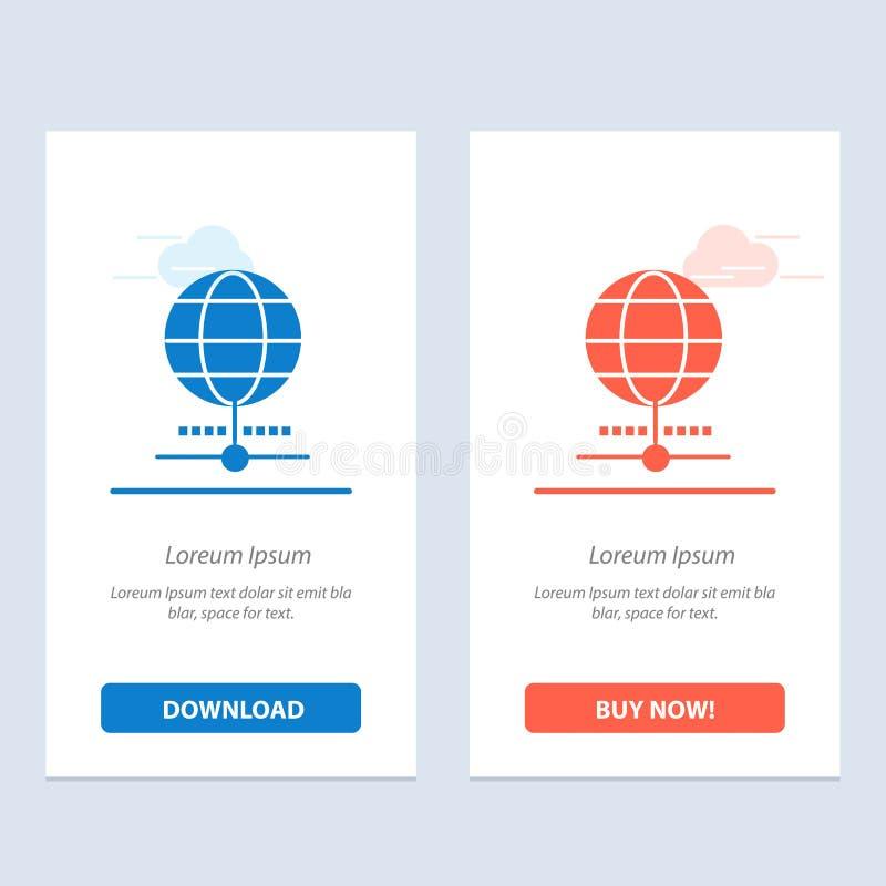 Jordklot, internet, webbläsare, världsblått och röd nedladdning och att köpa nu mallen för rengöringsdukmanickkort royaltyfri illustrationer