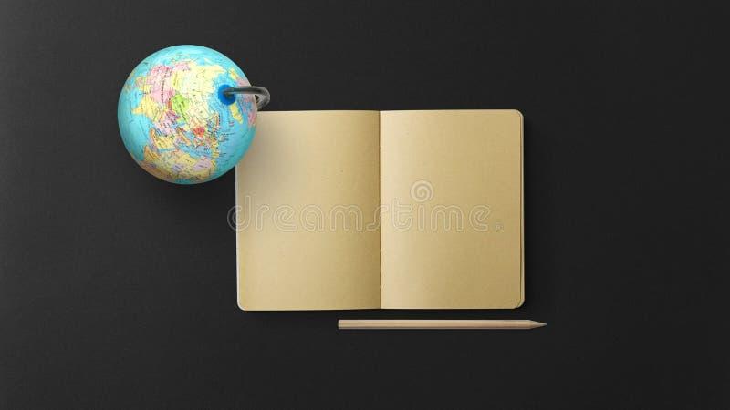 Jordklot med anteckningsboken och blyertspennan på svart bakgrund royaltyfri bild