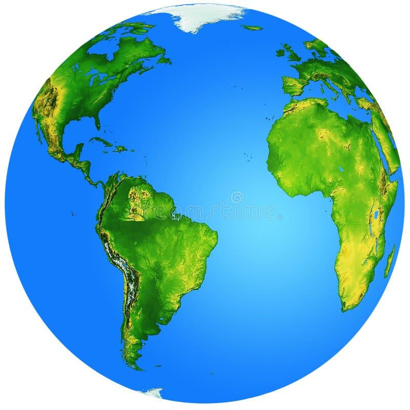 Jordklot med Atlantic Ocean på mitten royaltyfri illustrationer