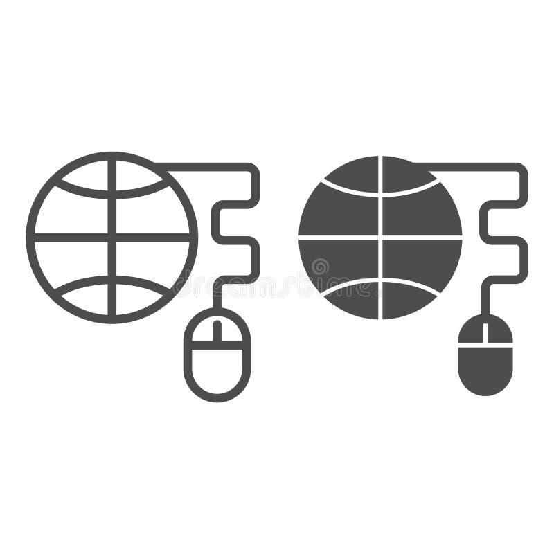 Jordklot med datormuslinjen och skårasymbolen Planet- och musvektorillustration som isoleras på vit Internetöversikt stock illustrationer