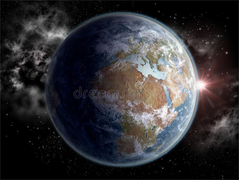 Jordklot med de afrikanska och europeiska kontinenterna in royaltyfri illustrationer