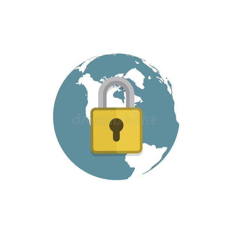 Jordklot med hänglåstecknet Säkra symbolet för det globala nätverket vektor illustrationer