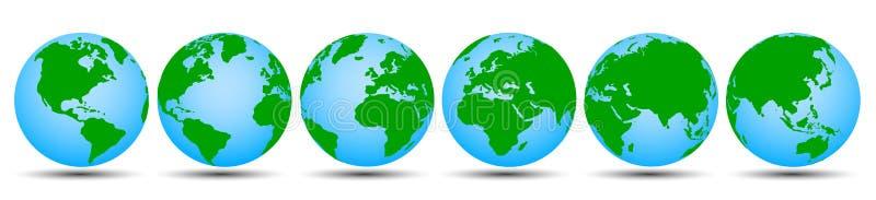 Jordklot med kontinenter i olika variationer - vektor vektor illustrationer