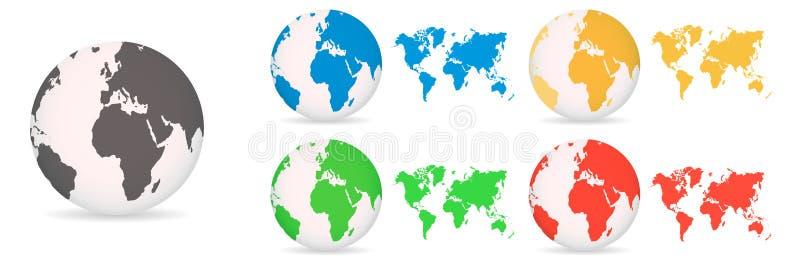 Jordklot med olikt kulört för världskartor på en vit bakgrund vektor illustrationer