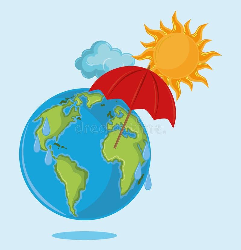 Jordklot med paraplyet och solen stock illustrationer