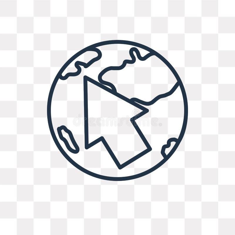 Jordklot med pekarevektorsymbolen som isoleras på genomskinlig backgroun vektor illustrationer