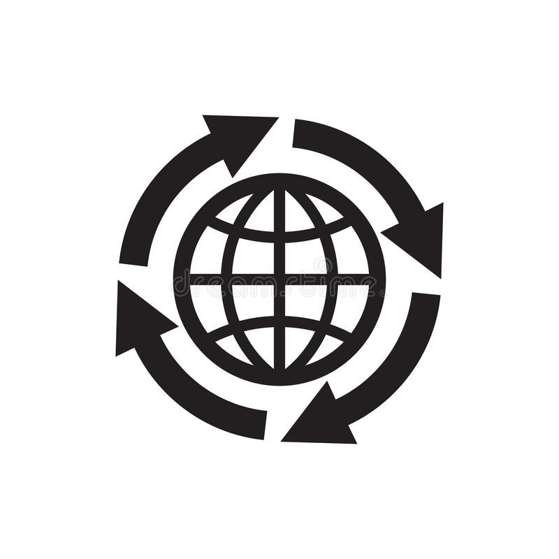 Jordklot med pilar - svart symbol på den vita bakgrundsvektorillustrationen för websiten, mobil applikation, presentation som är  stock illustrationer
