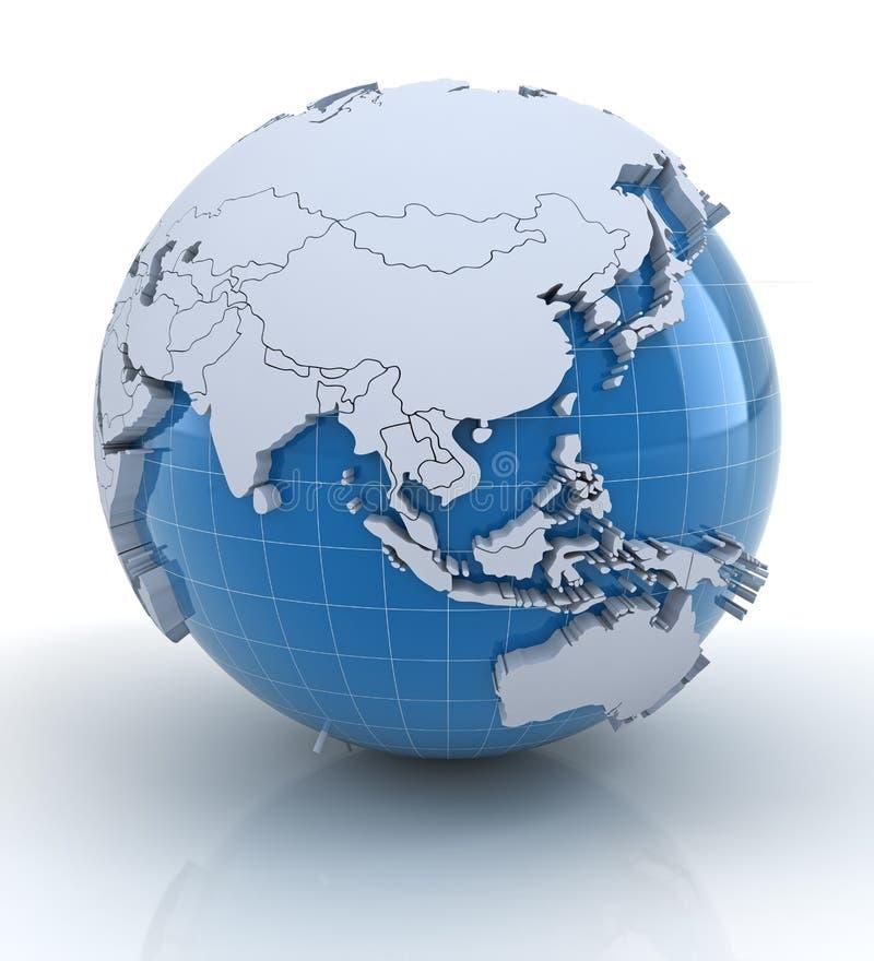 Jordklot med pressade ut kontinenter, Europa och Afrika royaltyfri illustrationer