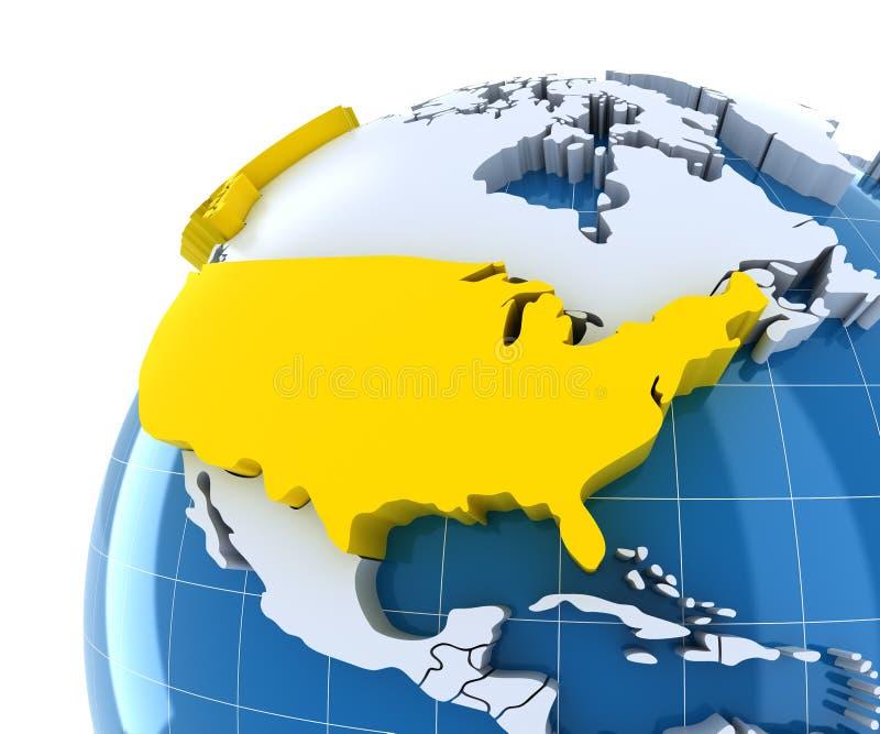 Jordklot med pressade ut kontinenter, närbild på USA royaltyfri illustrationer