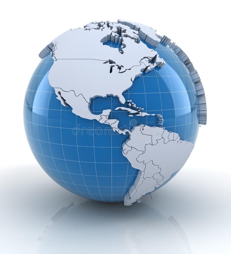 Jordklot med pressade ut kontinenter, norr och söder vektor illustrationer