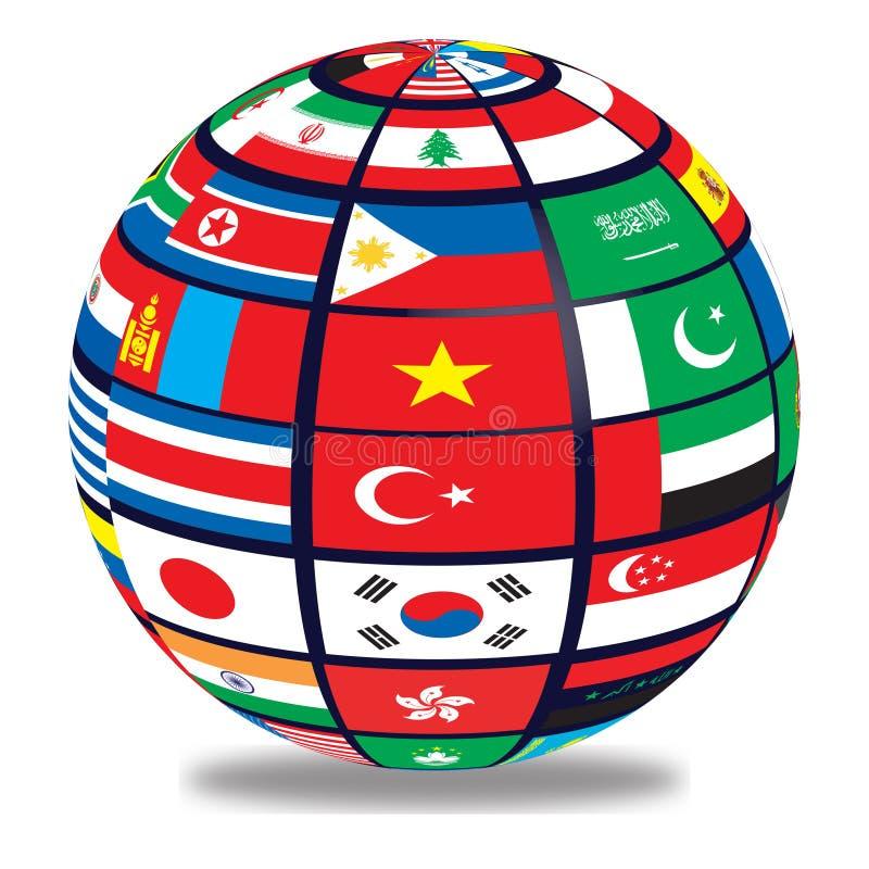 Jordklot med världsflaggor royaltyfri illustrationer