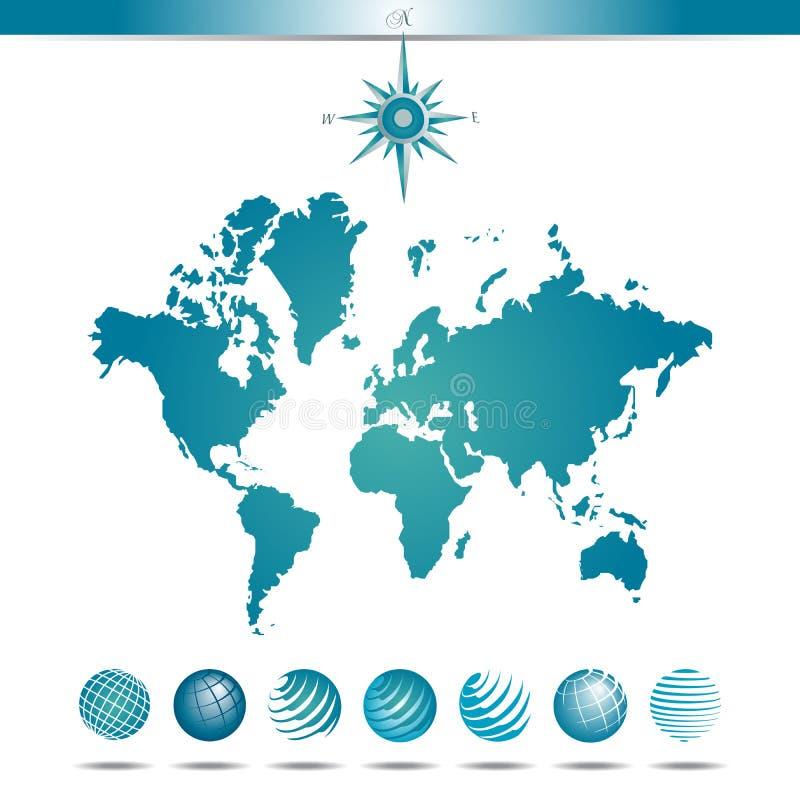 Jordklot med världskartan och kompasset royaltyfri illustrationer