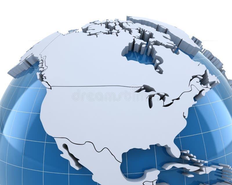 Jordklot, närbild på USA och Kanada royaltyfri illustrationer