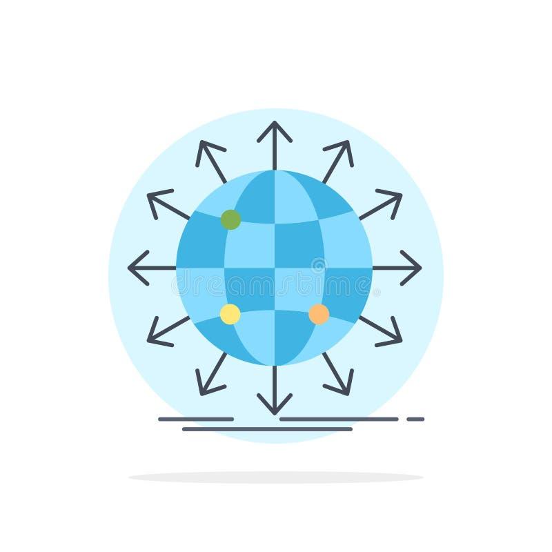 jordklot nätverk, pil, nyheterna, världsomspännande plan färgsymbolsvektor vektor illustrationer