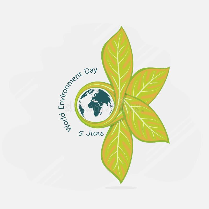 Jordklot- och bladtecken Logo D för vektor för begrepp för dag för världsmiljö stock illustrationer