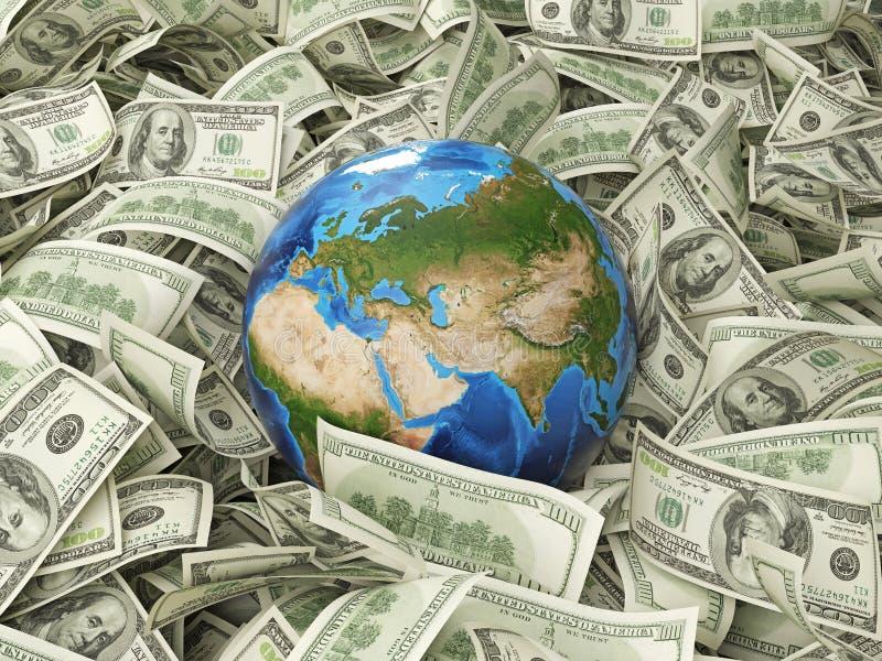Jordklot och dollar royaltyfri bild