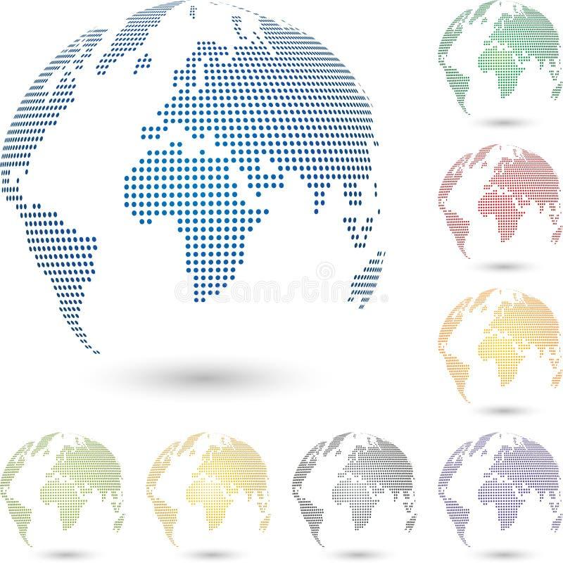 Jordklot- och jord-, jordklot- och jordöversikt, världskartajordklot, bakgrund och logo royaltyfri illustrationer