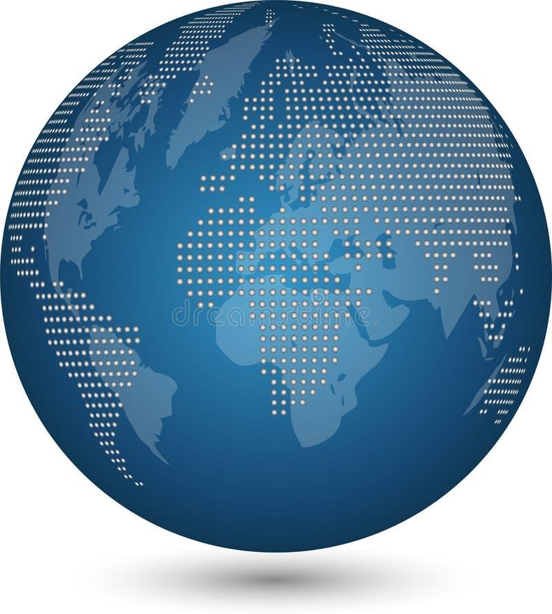 Jordklot och jord, jordklot som göras av prickar, teknologibakgrund, världskartajordklot stock illustrationer