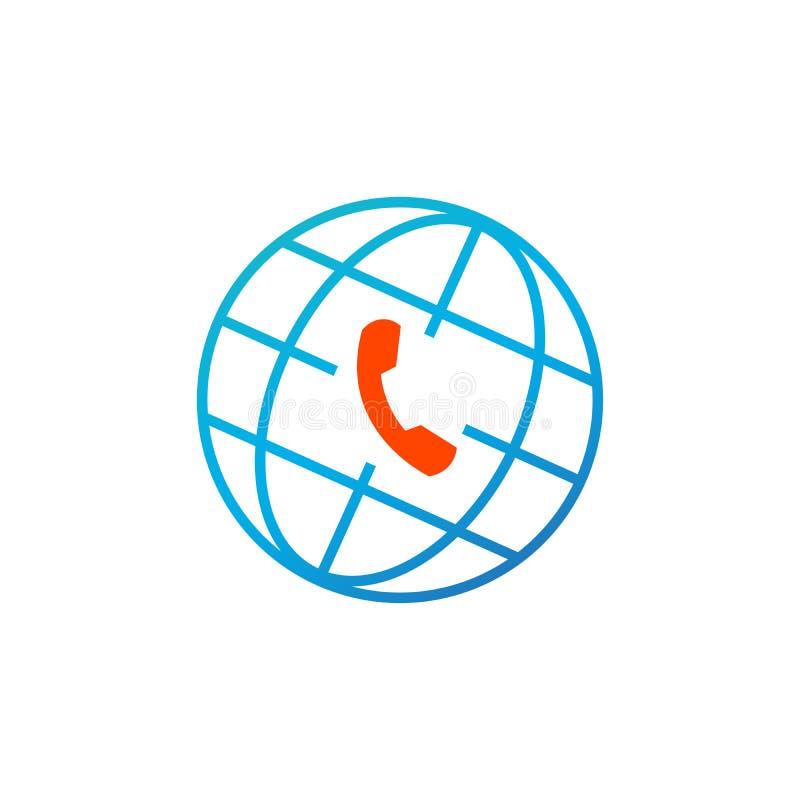 Jordklot- och telefonsymbol, global klientservice, appellmitt Vektorillustration som isoleras på vit bakgrund vektor illustrationer