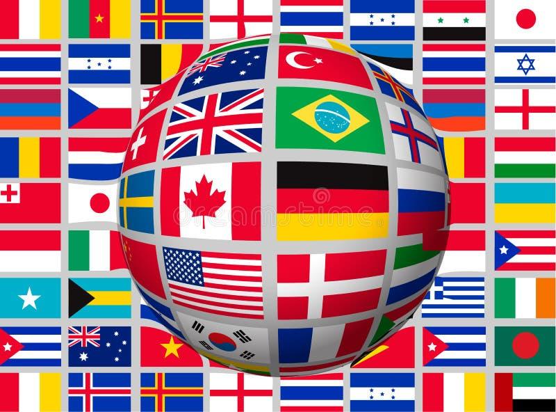 Jordklot på en bakgrund med flaggor av världen royaltyfri illustrationer